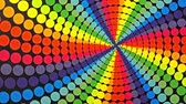 vzor : Retro Rainbow Colored Dots Rotating Animation Background . Perfect seamless loop background and special effect psychoactive footage in full color of rotational design and pattern that create a spinning optical illusion vortex that can have mesmerising hyp Dostupné videozáznamy