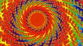 radial : Spiral Fractal Rotating Red Sun Animation Background. Perfect seamless loop background and special effect psychoactive footage in full color of rotational design and pattern that create a spinning optical illusion vortex that can have mesmerising hypnotic