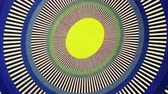транс : Yellow Egg Sun Oval Optical Illusion  Animation Background . Perfect seamless loop background and special effect psychoactive footage in full color of rotational design and pattern that create a spinning optical illusion vortex that can have mesmerising h Стоковые видеозаписи