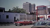 RALIEGH-DURHAM, NC -1971: Downtown district captured with SH Kress building. Стоковые видеозаписи