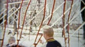 priceless : 1964: Boy and dad swinging on playground toys and smiling hard. Stock Footage