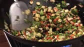meat free : Stir-frying vegetables in a wok