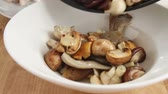 fungi : Fried mushroom being removed from the pan Stock Footage