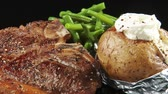 meat free : Fried T-bone steak with green beans and baked potato