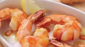 deep sea shrimps : Fried garlic prawns with lemons