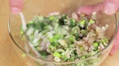 green onion : Ingredients for a marinade being mixed