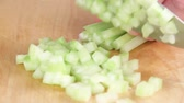 de madeira : Celery being diced Stock Footage