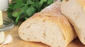 parsleys : Baguette, parsley, garlic and butter Stock Footage