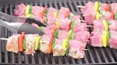 verdura : Meat and vegetable kebabs being turned on a grill Vídeos
