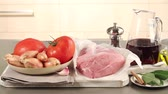 vermelho : Ingredients for stifado (Greek meat ragout)