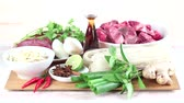 spring onion : Ingredients for pho bo (Vietnamese noodle soup with beef)