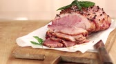 slices : Glazed roast ham with cloves Stock Footage