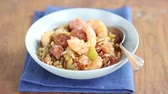 deep sea shrimps : Jambalaya (Creole rice stew with prawns and sausage)