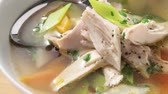 poulet : Clear lobster broth with garnish Stock Footage