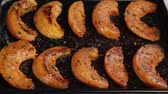 byliny : Roast pumpkin wedges on a baking tray
