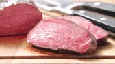 raro : Sliced, rare roasted venison saddle fillet