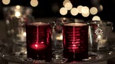 trimmings : Tealights in a Christmasy atmosphere Stock Footage