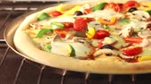 pizza cheese : A vegetarian pizza in an oven