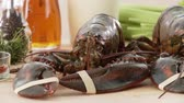 film : Fresh lobster with rubber bands on claws