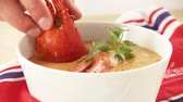 close ups : Cream of lobster soup