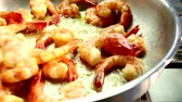 deep sea shrimps : Prawns being fried in a pan