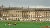 inglaterra : Panorama of the Royal Crescent houses in Bath, England.