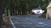 krajina : Wide shot of two ferraris driving by on country road
