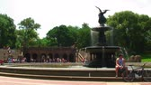 терраса : Bethesda Fountain in Central Park, New York City. Стоковые видеозаписи
