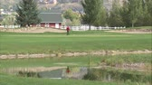 pim : A wide shot of a golfer on the green. He sinks the putt and replaces the flag. Stok Video