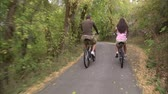 даты : A moving shot from behind of a couple riding their bikes through a tree covered bike path. Стоковые видеозаписи