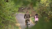 даты : A shot through the trees and from behind of a couple riding their bikes down a tree covered bike path. Стоковые видеозаписи