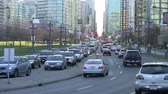 pendulares : Medium shot of traffic in downtown Vancouver. Stock Footage