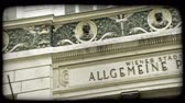 лекарство : Allgemeine Poliklinik, School of Psychology - Logotherapy, Vienna Austria sign in front of building with bronze faces lined along panel of building. Vintage stylized video clip.
