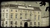 viyana : Shot of a building in Vienna. Vintage stylized video clip.