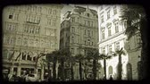 viyana : Shot of Vienna buildings surrounding a courtyard. Vintage stylized video clip.