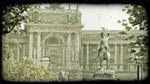 viyana : Shot of a statue in front of a building in Vienna. Vintage stylized video clip.