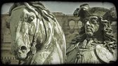 viyana : Shot of a statue showing a man riding a horse in Vienna. Vintage stylized video clip.
