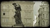 viyana : Shot of a statue in a courtyard in Vienna. Vintage stylized video clip. Stok Video