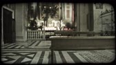 Иисус : Wide angle shot of the interior of an Italian cathedral. Vintage stylized video clip.