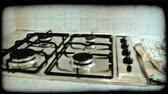 сбор винограда : Pan left shot of the interior of a kitchen inside an Italian home. Vintage stylized video clip.