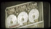 mecanismo : Mechanism that controls bank vault security dial. Vintage stylized video clip. Stock Footage
