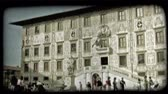 ступенька : Shot of  building in Italy as people pass. Vintage stylized video clip.