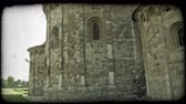gramado : Shot of the side of an Italian stone building. Vintage stylized video clip. Stock Footage