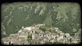 europa : Shot of the edge of a town in Italy. Vintage stylized video clip.