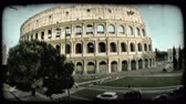 europa : Wide shot of the Colosseum in Rome. Vintage stylized video clip.