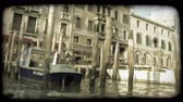 vintage : Pan of scenery from a boat down an Italian River. Vintage stylized video clip.