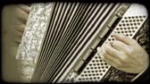 viyana : Closeup of Austrian man playing the accordian on the streets. Vintage stylized video clip.