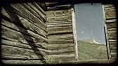 roof : Slow zoom forward from plants in foreground to open doorway of old abandoned log cabin with no roof revealing mountains in background. Vintage stylized video clip. Stock Footage