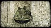 europa : Shot of a small fountain in Italy. Vintage stylized video clip. Stock Footage