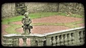 erkély : Shot of a small Italian Courtyard. Vintage stylized video clip.